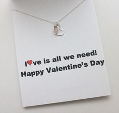 Valentine Card Sterling Silver Heart Necklace with by baublenotes, $42.00