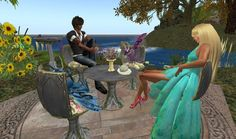 Tea with dragons and good company  #virtual worlds #second life #dragons #tea #animation #comics