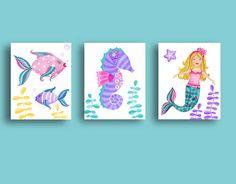 Mermaid Nursery Art, Girls Mermaid Bathroom Art, Teal Purple Mermaid Art  Prints, Girl Nursery Art, Mermaid Bedding Art Prints, Mermaid Decor