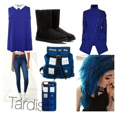 Tardis by drawinxouo on Polyvore featuring polyvore, fashion, style, Dr. Denim and UGG Australia