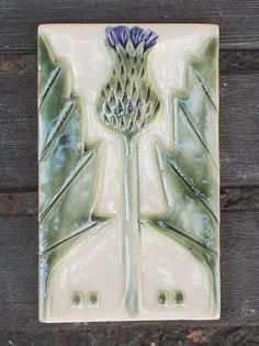 Arts and Crafts Mission Style Thistle Tile by CindySearles on Etsy