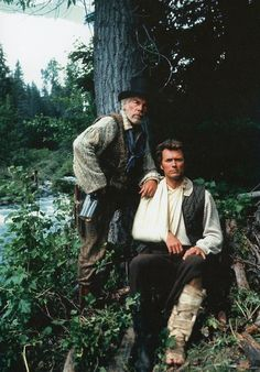 Lee Marvin and Clint Eastwood on location for Paint Your Wagon. Baker, Oregon, 1968.