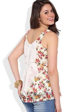 Deb Shops Allover floral lace high low peplum with dyed to match bow back $18.00