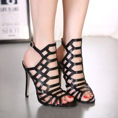 23.98$  Watch now - http://alizy7.shopchina.info/go.php?t=32795636320 - Black Women Roman Sandals High Heels Brand Summer Shoes Ladies Gladiator Woman Sandals Stiletto Caged Ankle Peep Toe Boots  #aliexpressideas