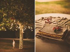 Small Paper lanterns hung in the tree making the perfect wedding lighting for that little guy. #loveatfirstlight