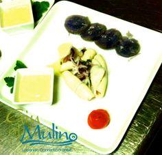 Insalata Tipedida con calamaretti, patate viola e maionese allo zenzero