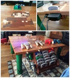 Nintendo 64 Built Into a Coffee Table. Complete with cartridge slot covered by 3D N64 logo, game shelves, Mario Pipe legs, wooden inlaid Mario Design, and controller ports facing the couch. By Mark Haggett