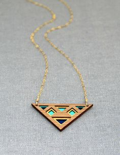 Luxe Layered Triangular Cherry Wood Necklace with Gold, Turquoise and Navy on Gold Filled Chain. $52.00, via Etsy.