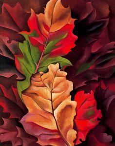 Autumn Leaves, Lake George, 1924 by Georgia O'Keeffe Alfred Stieglitz, Diego Rivera, Cool Landscapes, Landscape Paintings, Fall Paintings, Popular Paintings, Pinturas De Georgia O'keeffe, Georgia O'keefe Art, Georgia O Keeffe Paintings