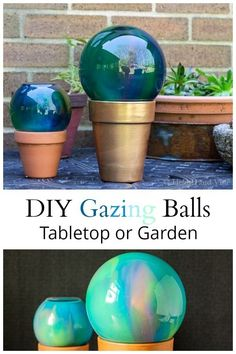 These gazing balls, perfect for gift giving, are super easy to create and can be used in the garden or as a tabletop decoration. #yardart #gardenart #gazingball #gardencraft #craft #summer #gardendesign