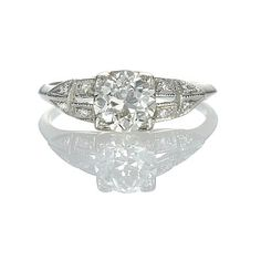 New York, NY Jewelry, engagement rings - Leigh Jay Nacht - Replica Art Deco Engagement ring - 2614-01