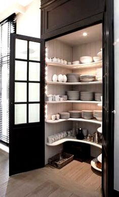Inspiring Pantry Designs Pantry for china storage. Pantry for china storage. Kitchen Pantry Design, Interior Design Kitchen, Diy Kitchen, Kitchen And Bath, Kitchen Storage, Kitchen Pantries, Kitchen Cabinets, Awesome Kitchen, Kitchen Ideas
