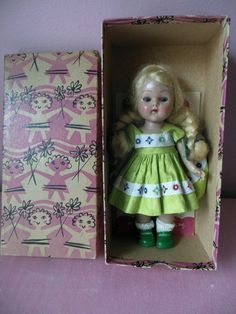 1950s Vogue Ginny Doll Painted Lash Walker Red Cheeks in Original Box A+ Cond