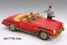 Gas Station Attendant Tom Figure For 1:18 Diecast Model Cars