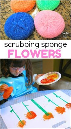 Making Sponge Flowers - use paint and a common household object to create pretty flower paintings. #kidsactivities #spring #flowers