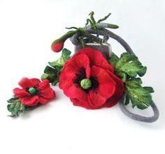 Felted handbag flower  Poppy Red flower  gift under 75. $74.00, via Etsy.