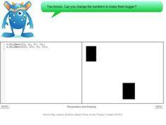 Code Monster (de 9 a 14 anos)  Esta ferramenta, que pode ser acessada diretamente no navegador, um monstro orienta as crianças sobre como alterar as variáveis do Javascript, o que modifica a aparência dos blocos na tela ao lado. Cada nova lição traz novas cores e formas para o lado direito da tela.