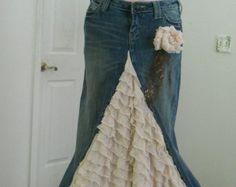Belle Époque Lavande bohemio jean falda Lila por bohemienneivy
