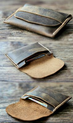 Mens Leather Card Wallet - Gift Ideas for Him - Groomsmen Gifts -- Simple Distressed Leather Wallets - 014 Personalized Leather Wallet, Leather Card Wallet, Leather Keychain, Womens Leather Wallet, Wallets For Women Leather, Leather Men, Leather Totes, Leather Bags, Leather Purses