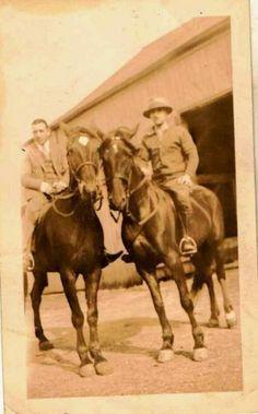 Old Vintage Antique Photograph Two Men Riding on Gorgeous Horses