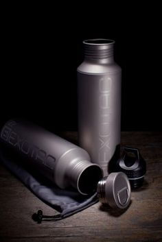 Solid titanium water bottle with titanium cap from Exotac