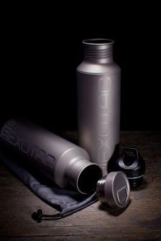 Solid titanium water bottle with titanium cap from Exotac