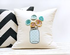 Decorative Pillow Mason Jar with Flowers16 x 16 inch by AppleWhite, $44.00