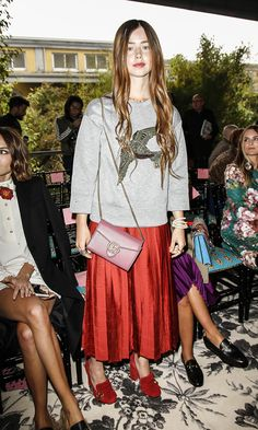Flo Morrissey being her own brand of babe at the Gucci  SS16 Milan Fashion Week show.