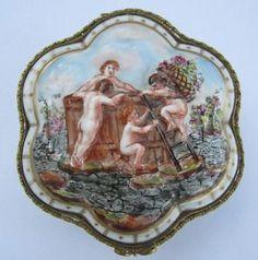 Antique Porcelain Trinket Boxes | Details about Antique Capodimonte Porcelain Jewelry / Trinket Box ...