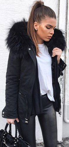 #winter #fashion / Black Jacket + White Tee + Black Skinny Jeans