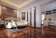 dormitorio al estilo lujoso con techo con luz Led