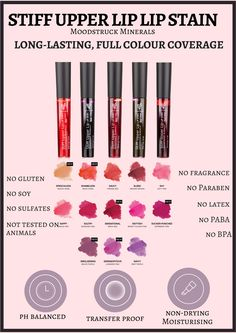 Love these Stiff Upper Lip Lip Stains Seriously last for hours! Now with another 6 new colours
