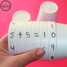 Cool Math Activity for Kids is part of Kids Crafts Science Math Activities - Looking for a Cool Math Activity for Kids These Cup Equation Spinners are simple, versatile and fun Practice lots of fun math skills with just a few cups Addition Activities, Math Activities For Kids, Enrichment Activities, Math For Kids, Fun Math, Maths For Toddlers, Educational Activities, Teaching Aids, Teaching Math