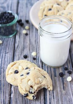Wild Blueberries and White Chocolate Chip Cookies on www.cookingwithruthie.com are going to rock your world! They're AHmazing!