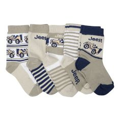 Clearance - Babies Boys JEEP Cars Design Socks Grey White Navy (Pack of 5) (Shoe Size US: 5-8 ( Age 1-2 Years)) (Grey/White/Navy) Jeep, http://www.amazon.com/dp/B00565X3MQ/ref=cm_sw_r_pi_dp_L43qrb1XJDZPT