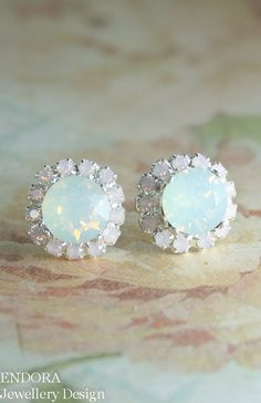White and pink opal crystal earrings   Opal earrings   www.endorajewellery.etsy.com   opal wedding jewelry