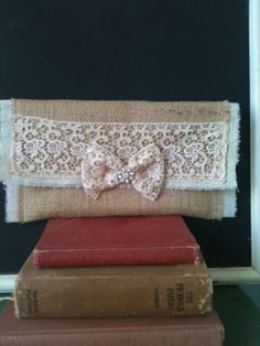 Burlap and Lace bow with rhinestone cluch by burlapheartstrings, $19.99