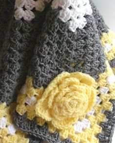 Gray Yellow Baby Blanket Crochet Baby Blanket Yellow by puddintoes, $60.00
