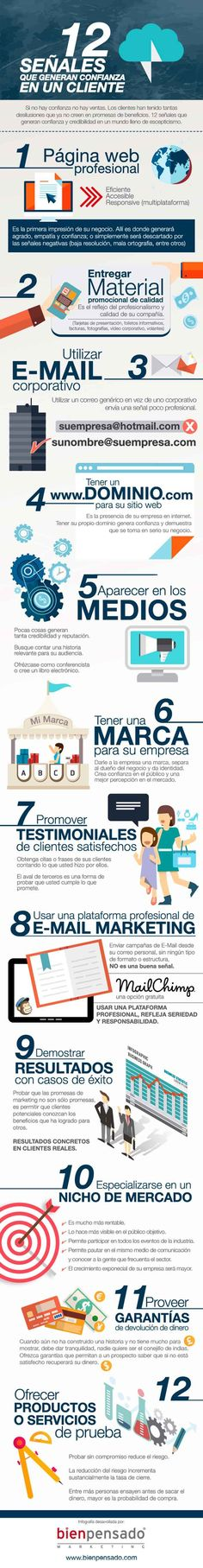 Infografia sobre las 12 señales que generan confianza en los clientes