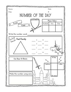 Second grade number of the day worksheet