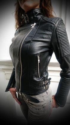 Racer Ladies Biker Fashion Designer Casual Style Dark Blue Nappa Leather Jacket
