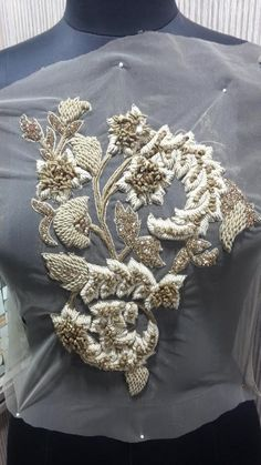LARGE Hand Beaded and Embroidered METALLIC GOLD by allysonjames