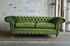 Modern Handmade 3 Seater Plush Green Velvet Cushioned Chesterfield Sofa
