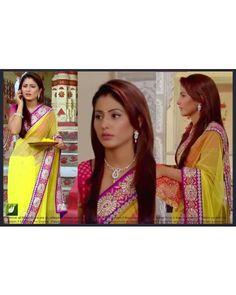 Hina Khan Yellow Bollywood Replica Saree