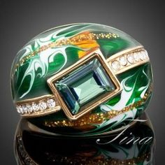 18K Gold Plated SWAROVSKI ELEMENTS Green Oil Painting Pattern Ring #jewelryvo #jewelry #rings