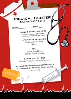 If youre hosting a nursing graduation party, or even a medical/nurse-themed party, this is the perfect invite for you. This is a listing for a high
