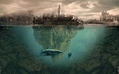 Download wallpapers underwater, island, buildings, shark, aqualunger