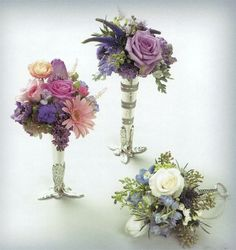 Wedding Duo of Mixed Tussie-Mussie with Roses and Gerbera Daisy in Silver Stand and Lavender Tussie-Mussie in Silver Stand. Price include the two bouquets on the left and does not include the silver stand. Seasonal Flowers, Fresh Flowers, Prom Flowers, Wedding Flowers, Victorian Crafts, Nosegay, Paper Cones, Gerbera, Wedding Decorations