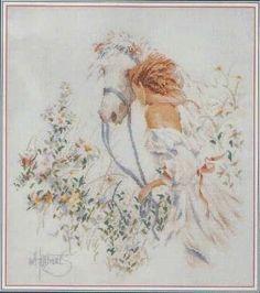 schema punto croce donna a cavallo | Hobby lavori femminili - ricamo - uncinetto - maglia