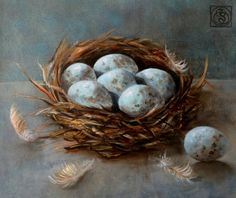 ARTFINDER: Nest Study by Katia Bellini - oil on canvas (2014). Varnished. Framed in ivory distressed wooden frame. Ready to hang.